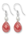 Cherry Quartz Teardrop & Freshwater Pearl Sterling Silver Drop earrings. Size: 10mm x 20mm excluding wires.7049CQ