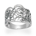New Sterling Silver Large open design Rose ring - 1279