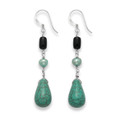 Sterling Silver Turquoise, Onyx and Freshwater Pearl Drop earrings - SIZE:45mm x 10mm 4255/2A