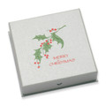"Silver cardboard slim Bangle box 85mm x 85mm x 22mm - with "" Merry Christmas"" & Holly design B45HOL"