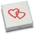 Good quality HEARTS GIFT BOX - Silver cardboard Pendant/Large earrings box 60 x 60 x 18 - B42HEART