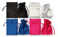 Large Satin Pouches Pack of 4 - Black, Silver, Dark Blue and Cerise. 110 x 90mm SPLDBMIX