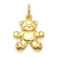Gold plate on silver Teddy Bear Pendant - SIZE: 14mm x 10mm. Excluding chain