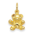 Gold plate on silver Teddy Bear Pendant - SIZE: 14mm x 10mm. Excluding chain 4998