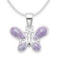 Children's Sterling Silver Butterfly Pendant - Mauve enamel - Size: 15mm x 10mm.  Chain not included