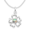 Childrens' Sterling Silver Flower Pendant - Lab. Opal  - Size: 10mm  Chain not included