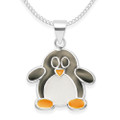 Children's Sterling Silver Penguin Pendant - Black & Orange Enamel on silver - - Size: 14mm x 15mm. Earrings, Box & Chain all available as add ons.