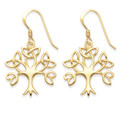 Gold plate on Sterling Silver Celtic Tree of Life drop Earrings - SIZE:  20mm x 19m. 6099GP