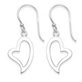Sterling Silver Open heart earrings - SIZE:15mm x 10mm 6026