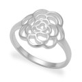 LAST FEW - NOW HALF PRICE - HIGH POLISHED Sterling Silver Rose Ring -  Rose size: 10mm. 1280