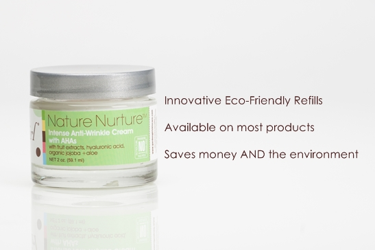 Natural Skin Care - Eco-friendly, Refills, Recyclable Containers. Garden Girl skin care introduced a unique refills program that allows customers to purchase refills after their first purchase of a full sized package. Saves money and the environment.