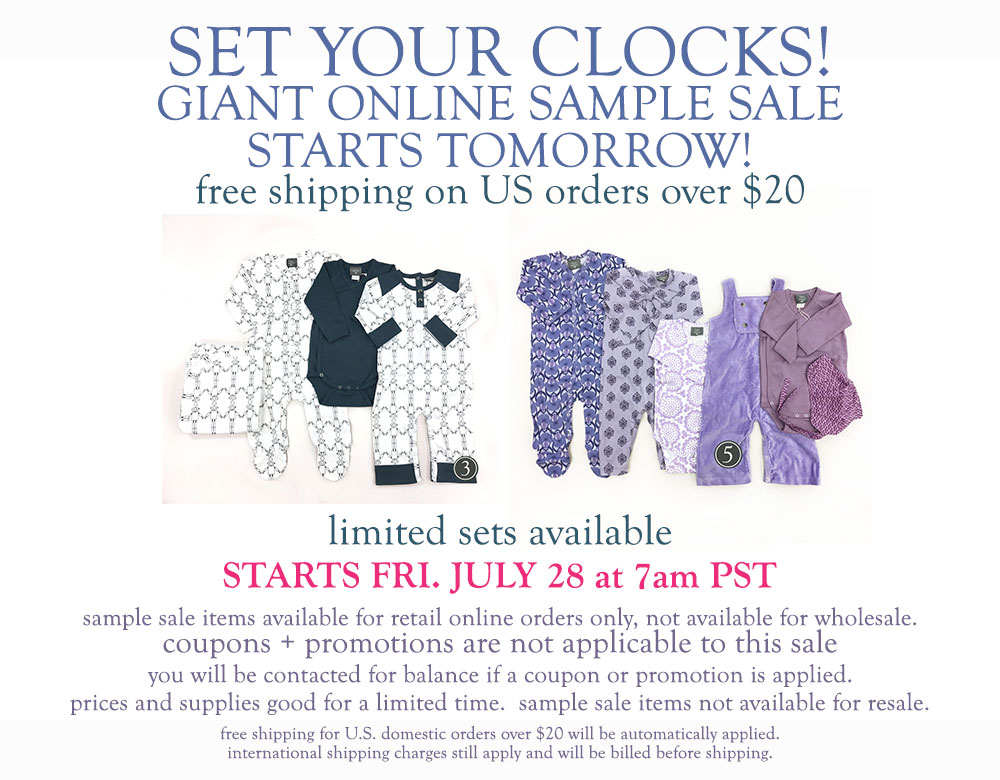 Set your clocks | Giant online sample sale starts tomorrow!