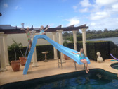 AQUA ROCKET SWIMMING POOL WATER SLIDE! with water connection