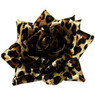 "Satin rose in sexy leopard print. Hair clip has an alligator clip. Measures 4"" across."