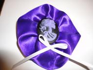 Purple Ribbon Skull Cameo Hair Clip