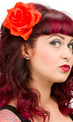 Trash Monkey ** Sourpuss Orange Rockabilly Rose Hair Clip