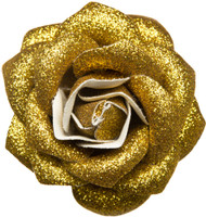 Trash Monkey ** Glitter Rose Hair Clip in GOLD Sourpuss Retro Rockabilly hair accessories