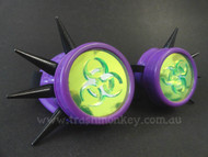 Purple Cyber Goggles with Fluo Acid Green Biohazard Acrylic Lenses