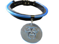 Trash Monkey ** Leather Choker, with Blue UV Tubing & Biohazard Acrylic Pendant
