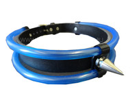 Trash Monkey ** Black Leather Choker with Blue UV Reactive PVC Tubing