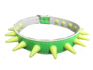 Trash Monkey ** Shiny Fluo Green PVC Choker with 15 Fluo Yellow Plastic spikes