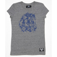 "SAILOR JERRY ""Saddle Up"" Ladies Tee in Grey Heather"