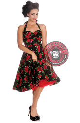 Trash Monkey ** Hell Bunny CANNES Floral 50s Dress - Black Red