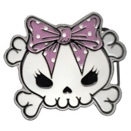 Trash Monkey ** KREEPSVILLE - Pink Skully Bow Belt Buckle