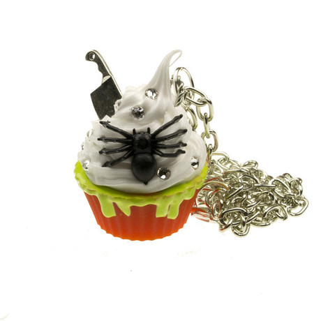 Trash Monkey ** Stranger Danger - Orange Spider Cupcake Necklace