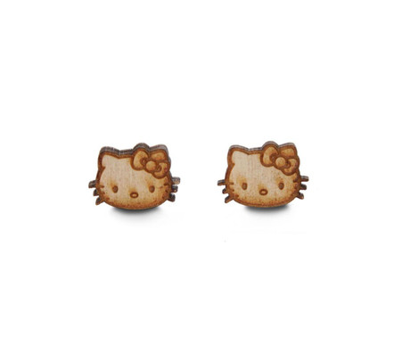 Trash Monkey ** Hello Kitty Birch Wood Head Earrings