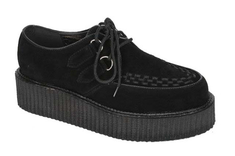 Trash Monkey ** Demonia - Mens Black Faux Suede Vegan Creepers