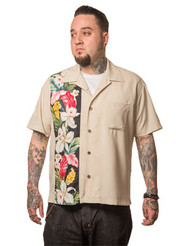 Trash Monkey ** Steady Clothing - Hibiscus Tiki Panel Button Up in Stone
