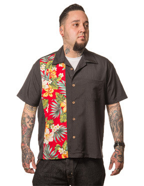 Trash Monkey ** Steady Clothing - Hibiscus Tiki Panel Button Up in Charcoal