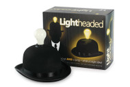 Trash Monkey ** Bowler Hat with L.E.D Bulb  Reflecting one of the iconic images from the closing of the London Olympic Games... A quality flock bowler hat housing a super bright bulb containing 3 LED's.  Perfect for a party, night out, the festive season or a business meeting. Doubles as a desk lamp.  Can be worn to create a festive vibe in-store .