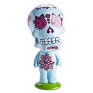 Trash Monkey ** Candy Skull Bobble Heads ~ Blue  These Bobble Heads are apart of our Candy Skull range, these creepy-but-cute candy skulls look great scattered around the home! Available in either Pink, White or Blue Candy Skulls. 60 (L) x 60 (W) x 127 (H)mm