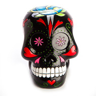 Trash Monkey ** Rose Candy Skull Money Box  Black Candy Skull featuring Hearts and Roses graphics! Moulded and painted for a luxurious 3D effect for all you Skull Fiends!  172 (L) x 131 (W) x 156 (H) mm