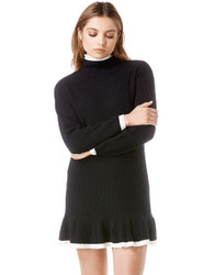 Trash Monkey ** UNIF - Mistral Dress in Black  The MIstral dress is a long sleeved, ribbed turtleneck mini sweater dress (whoa, that's alot) with contrast detailing at the collar, cuffs and bottom hem.  100% Acrylic. Fit is true to size and comes in multiple colorways.