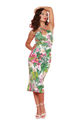 Trash Monkey ** Bettie Page - Cross My Heart Dress in Green Hawaiian