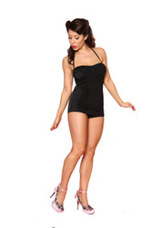 Trash Monkey** Bettie Page - Ruched Sheath Swatch Swimsuit in Black