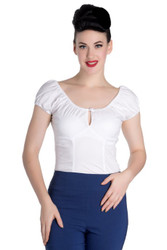 Hell Bunny - Melissa Top White Pinup Blouse