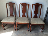 3 Solid Cherry Queen Anne Dining Chairs