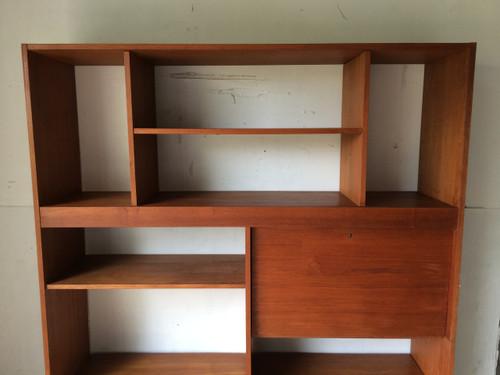 Mid century modern teak wall unit secretary bar for Modern wall bar unit
