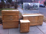 4pc Vintage Blonde Bedroom Set