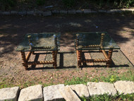Pair of Square Glass End Tables w/ Twisted Legs