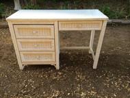 White Wood Framed Wicker Desk