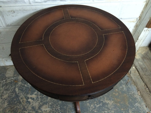 ... Antique Mahogany Round Leather Top Pedestal Table. Image 1