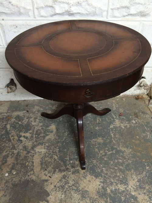 Round Pedestal Coffee Table Antique Antique Mahogany Round Leather Top Pedestal Table