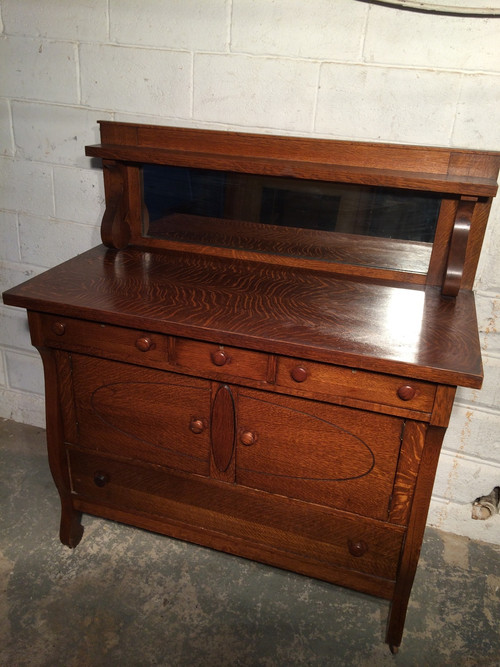 Antique Solid Tiger Oak Dining Buffet W Mirrored Back