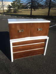 Vintage Modern White and Blonde 6 Drawer Tall Dresser