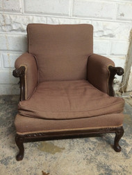 Antique Ball and Claw Upholstered Arm Chair